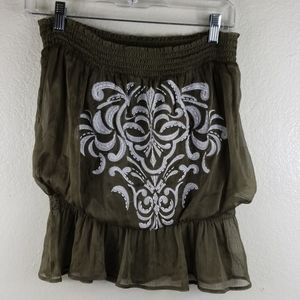 Cache' Strapless Embroidered Beaded Top Sz L
